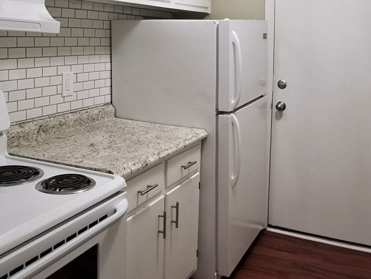 kitchen with efficient appliances at Aspen Run Apartments in Tallahassee, FL 32304