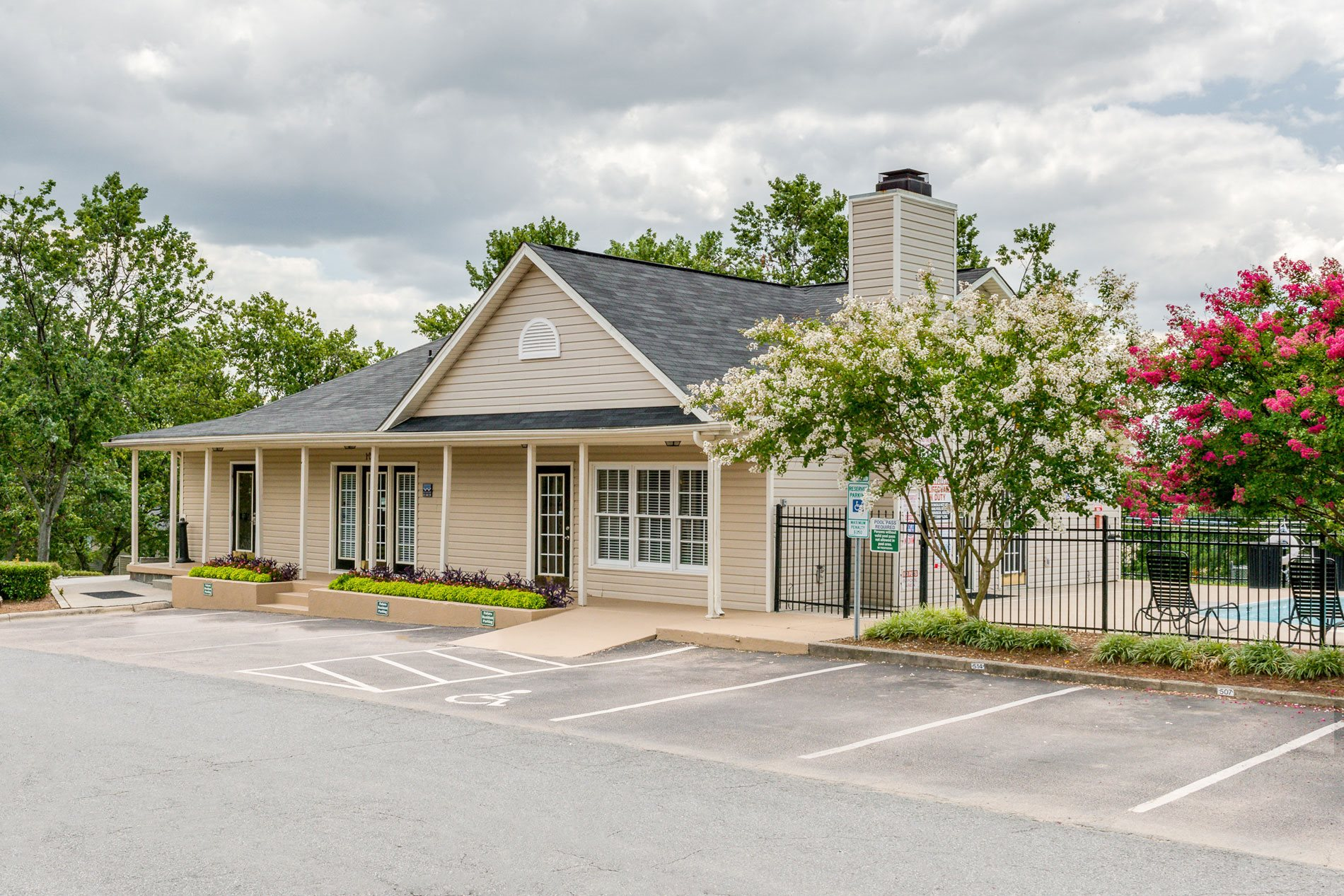 Leasing Office Exterior at Crestview and Huntington Apartment Homes in Concord, North Carolina, NC