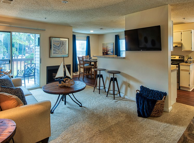 Living room at Marina Shores Apartments