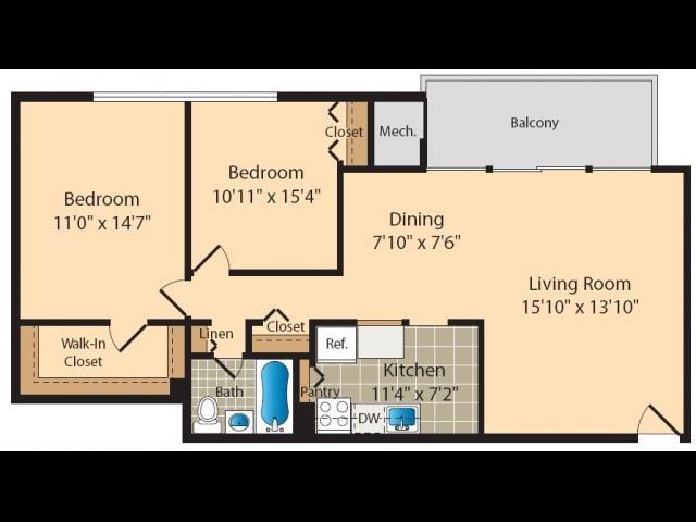 2 Bedroom B Floor Plan 5
