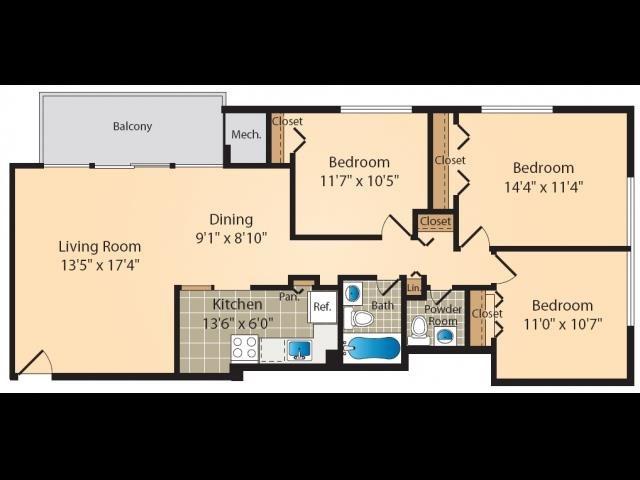 3 Bedroom Floor Plan 7