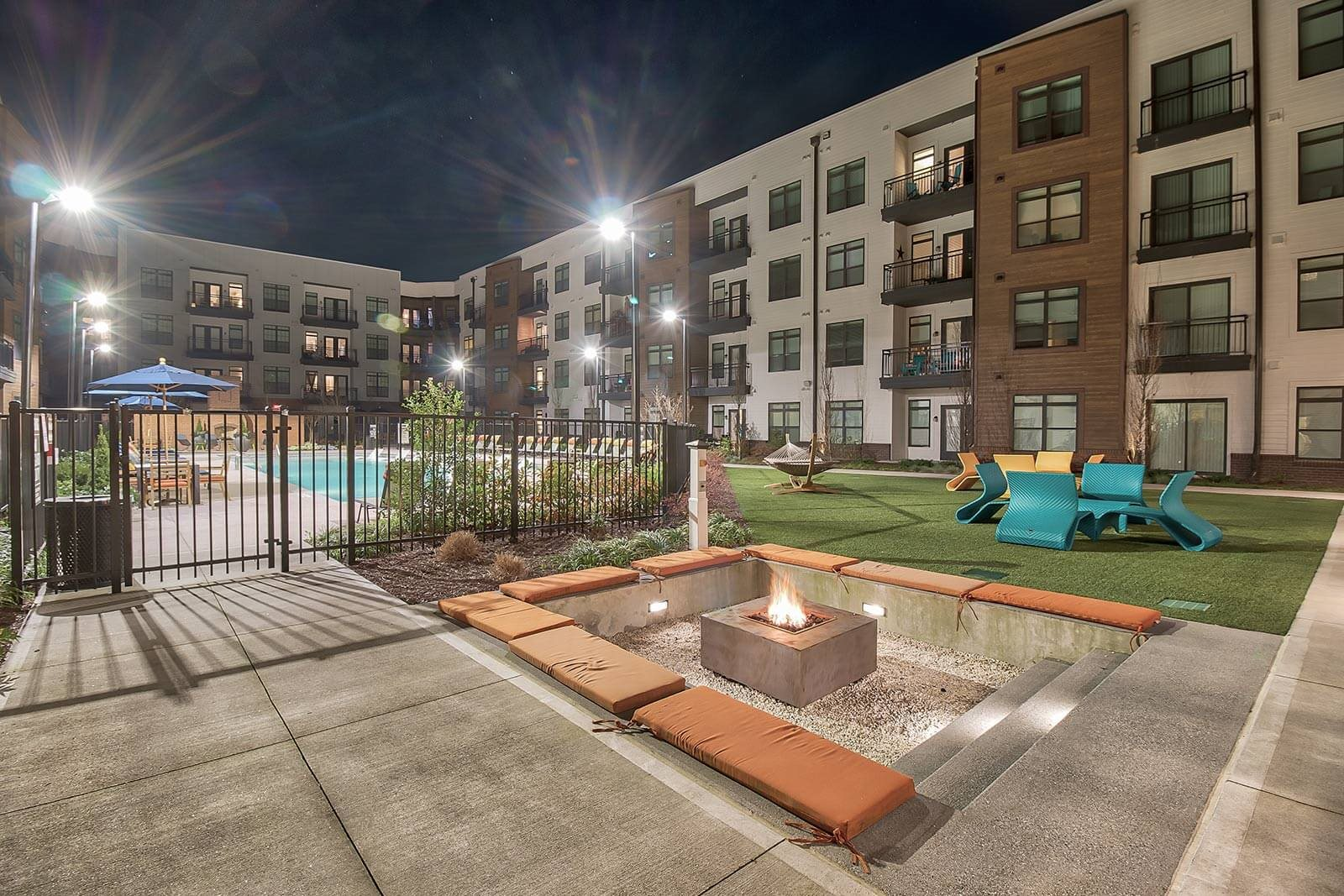 Landscaped Courtyard With Sunken Fire Pit at Windsor Parkview, Chamblee, 30341