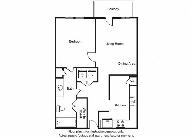 One Bed One Bath A1a Floor Plan at Windsor West Lemmon, Texas, 75209