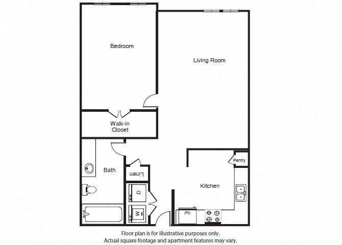 One Bed One Bath A2 Floor Plan at Windsor West Lemmon, Dallas, TX