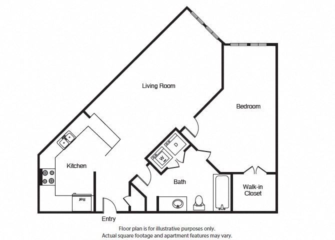 One Bed One bath A3 Floor Plan at Windsor West Lemmon, Dallas, 75209