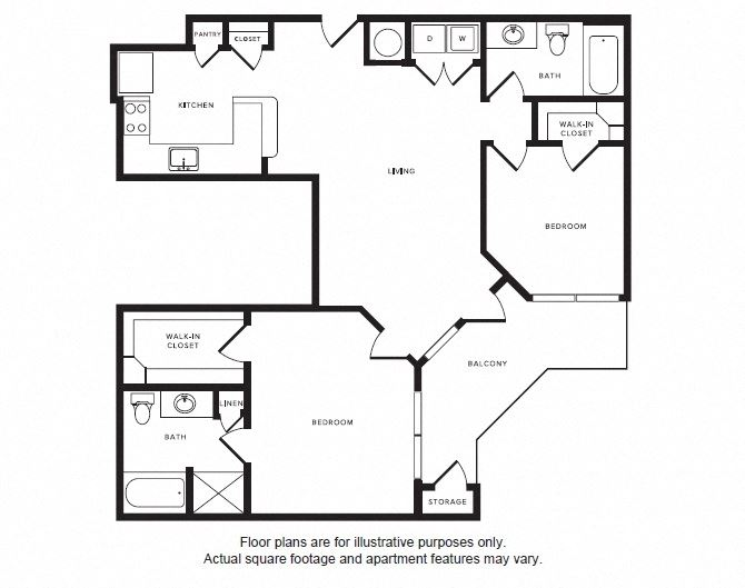 B2 floor plan at Windsor Shepherd, TX, 77007