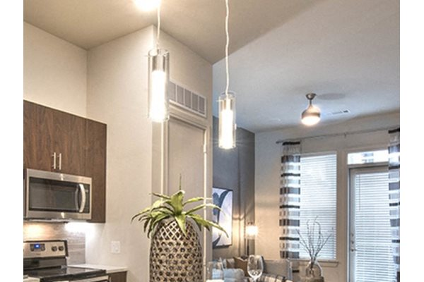 Kitchen with Chic Pendant Lighting at Windsor Turtle Creek, Texas, 75219