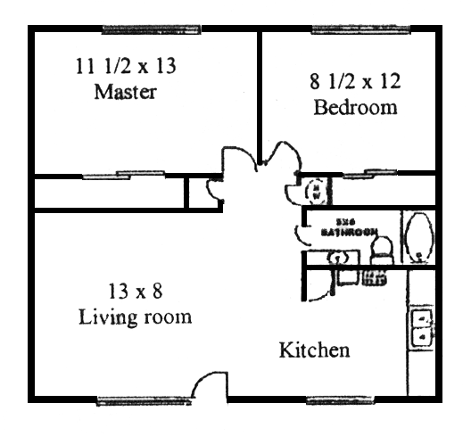 2 Bedroom 1 Bath Floor Plan 1