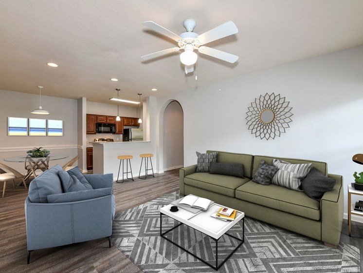 Large Open Floorplans with Ceiling Fans in Living and Bedroom Areas at The Finley Apartment Homes, Jacksonville, FL 32221