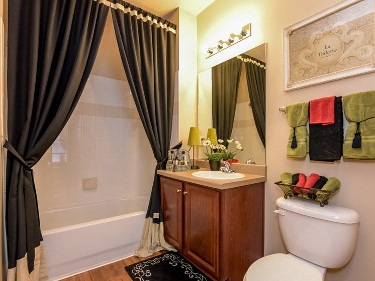 Large soaking tub and shower with brush nickel hardware in bathrooms at The Finley Apartment Homes, Jacksonville, FL 32221