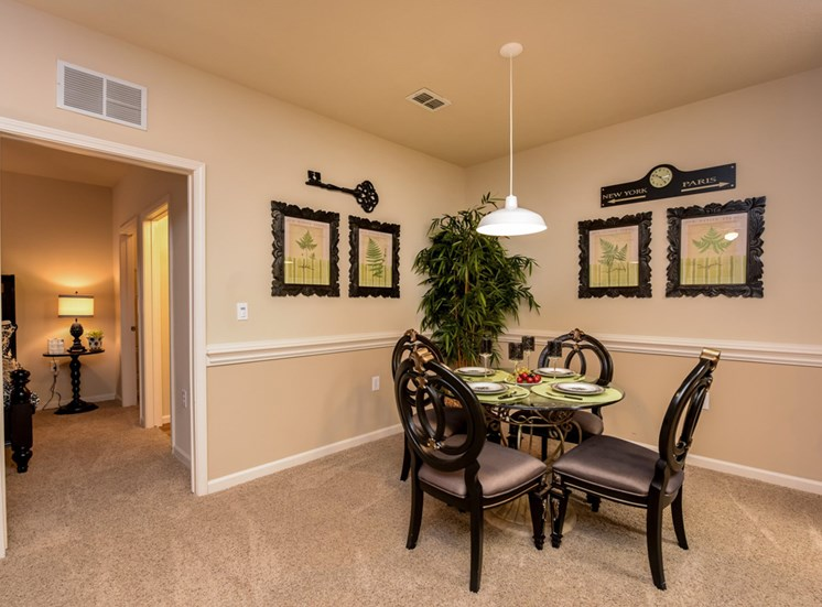 Gorgeous Dining Room Space with Elegant Chair Railing at The Finley Apartment Homes, Jacksonville, FL 32221