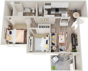 GoGo West 2 Bedroom 1 Bath Floor Plans
