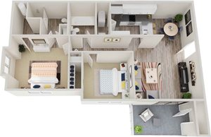 GoGo West 2 Bedroom 2 Bath Floor Plans