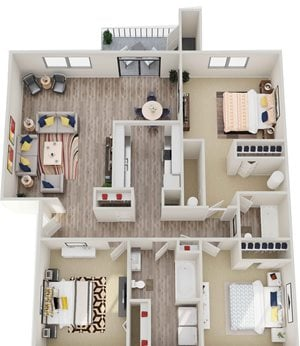 GoGo West Apartments 3 Bed 2 Bath 3D Floor Plan