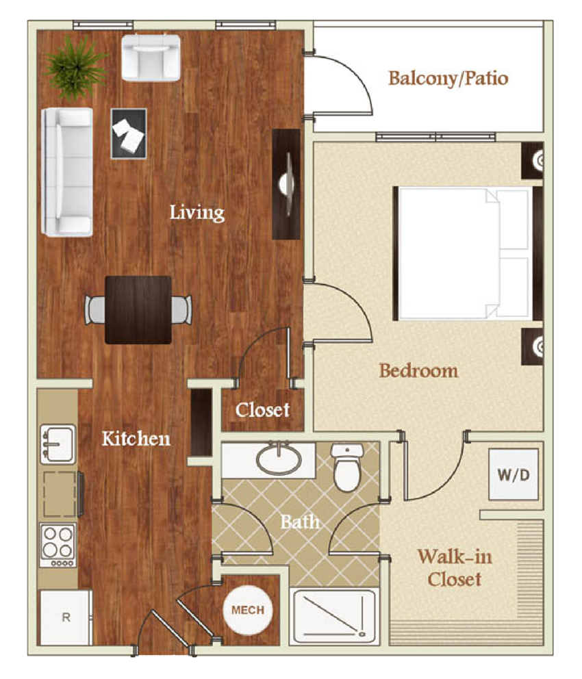 Floor Plan at St. Marys Square, Raleigh, NC, 1 Bedroom, Renovated, 1BR Apartment