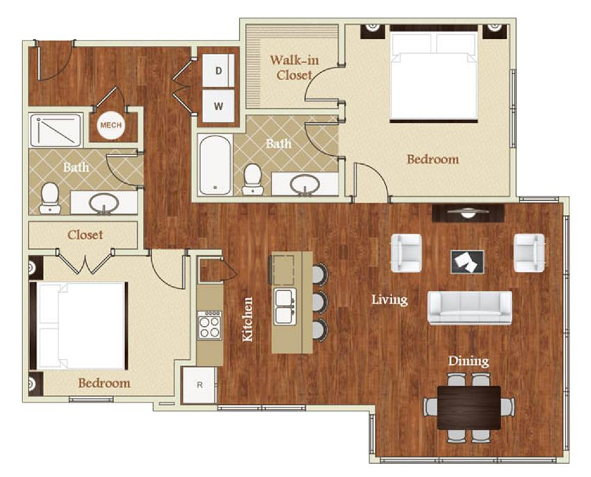St. Marys Square 2 Bed 2 Bath Floor Plan