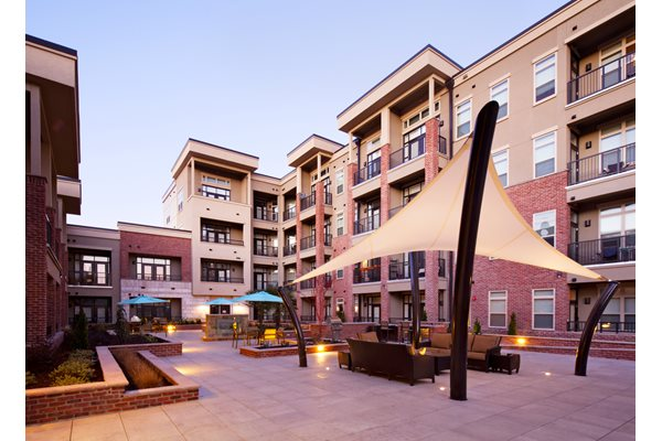 Resident Courtyard at St. Marys Square Apartments, North Carolina, 27605