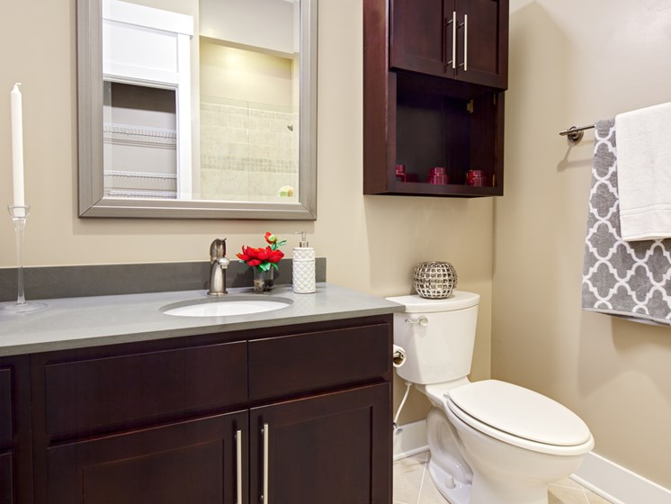 Bathroom with  modern finishes at St. Mary's Square Apartments, Raleigh, NC
