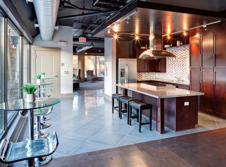 Community gourmet kitchen at St. Mary's Square Apartments, NC, 27605