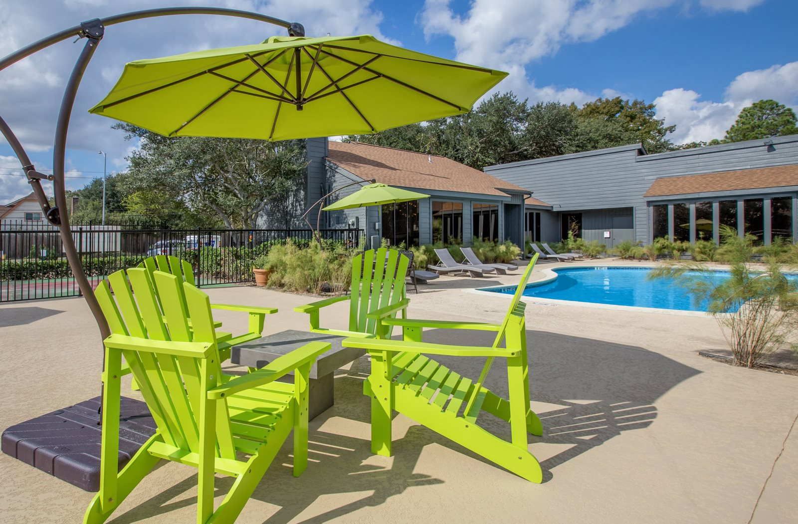 Pool Side Relaxing Area at Westside Flats, Houston, TX, 77077