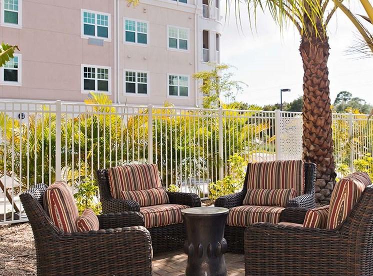 Relaxing Outdoor Lounge Area at Diamond Oaks Village, Bonita Springs, FL, 34134