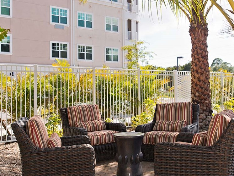Relaxing Outdoor Lounge Area at Diamond Oaks Village, Bonita Springs, FL, 34134