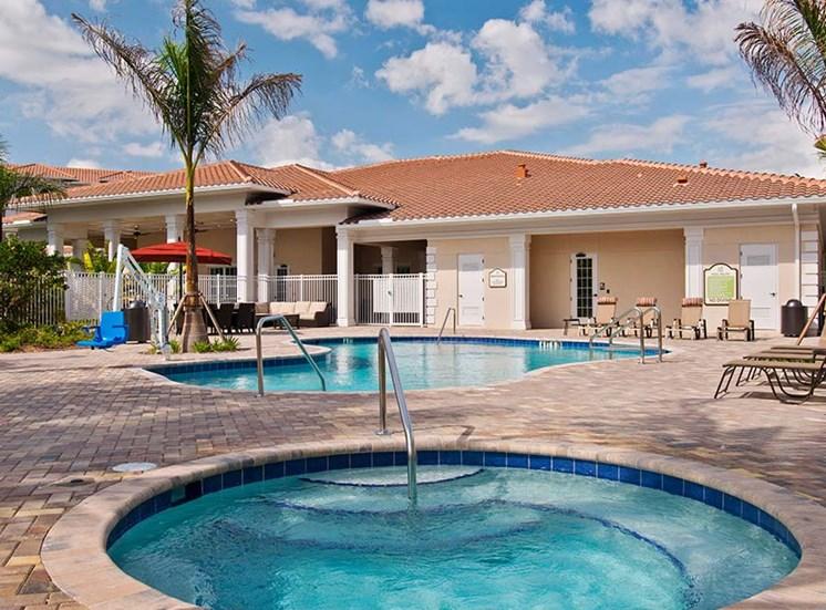 Pool Side Relaxing Area at Diamond Oaks Village, Bonita Springs, FL