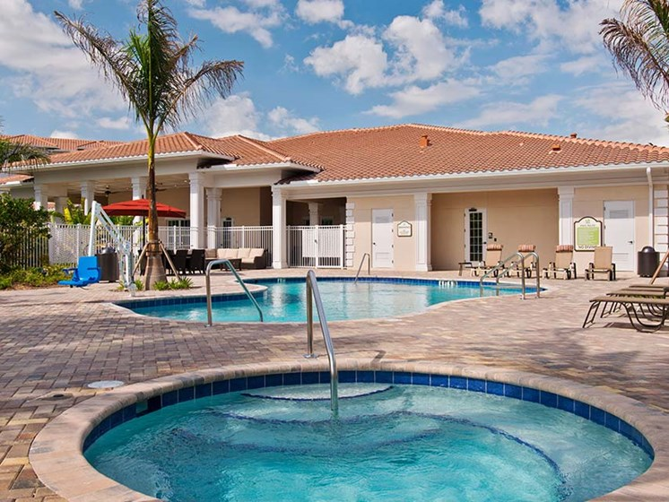 Pool Side Relaxing Area at Diamond Oaks Village, Bonita Springs, FL