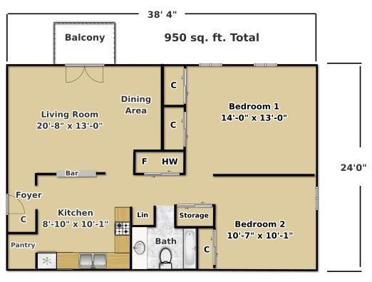 Stonegate - 2 Bedroom Floor Plan 2