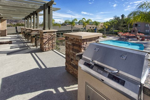 Outdoor grill nd pool area
