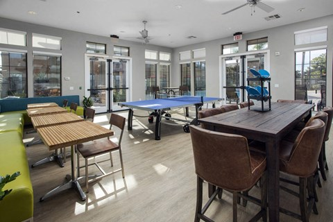 Clubroom ping pong table and seating area