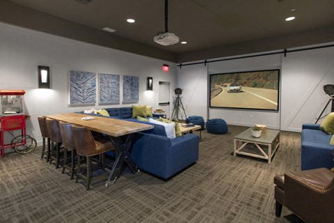 Clubroom seating area and TV