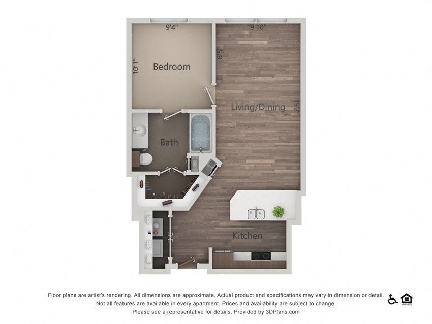 1Bed 1Bath 1D Floorplan at Northshore Austin, Austin, TX, 78701