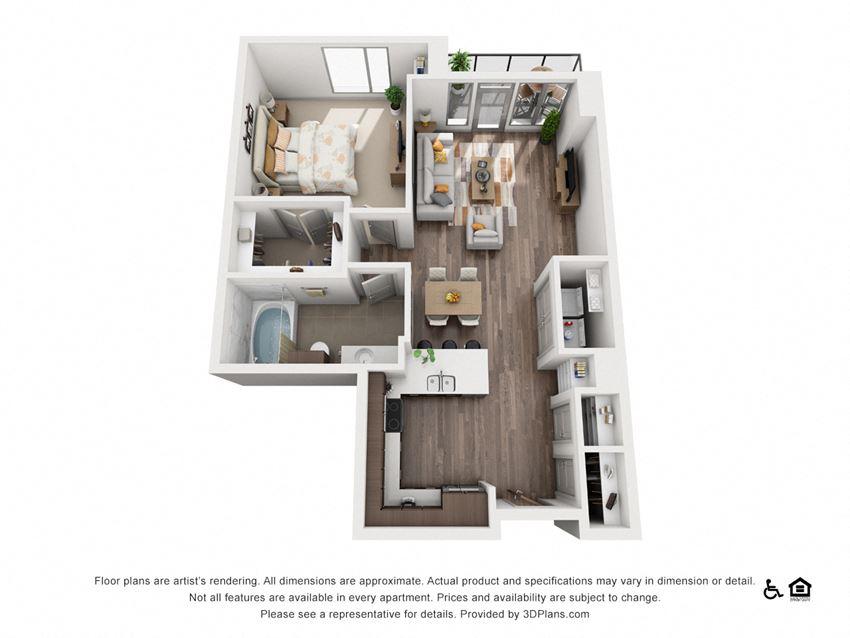 1 Bed 1 Bath 1I Floor Plan at Northshore Austin, Austin, 78701