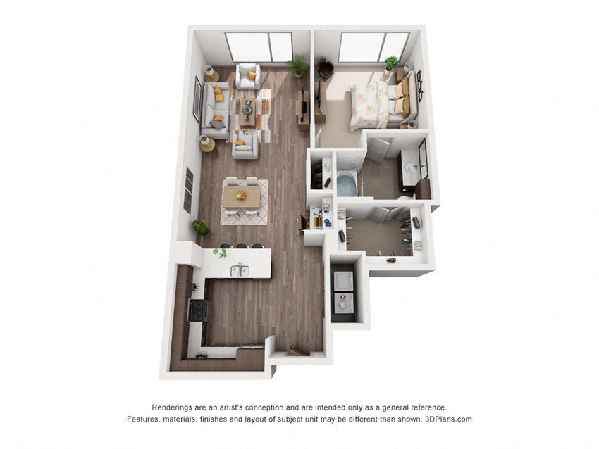 1 Bed 1 Bath 1J Floor Plan at Northshore Austin, Austin, Texas