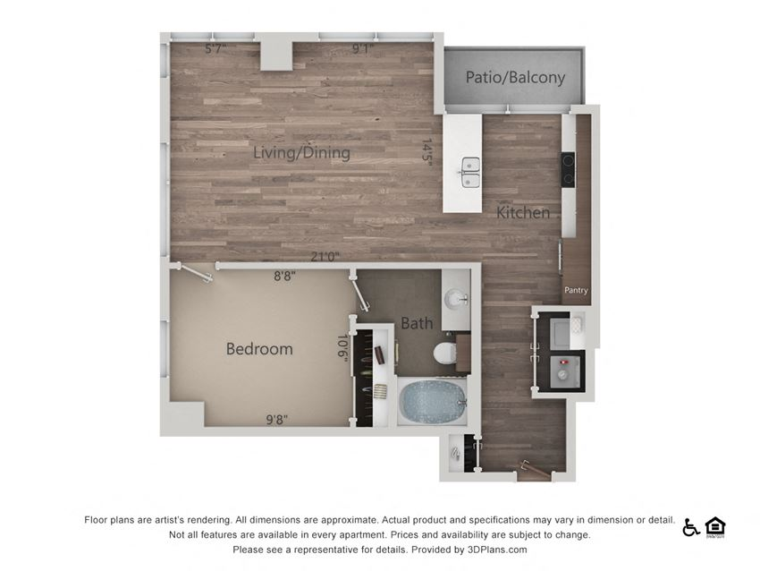 1Bed 1Bath 1K Floorplan at Northshore Austin, Austin, 78701