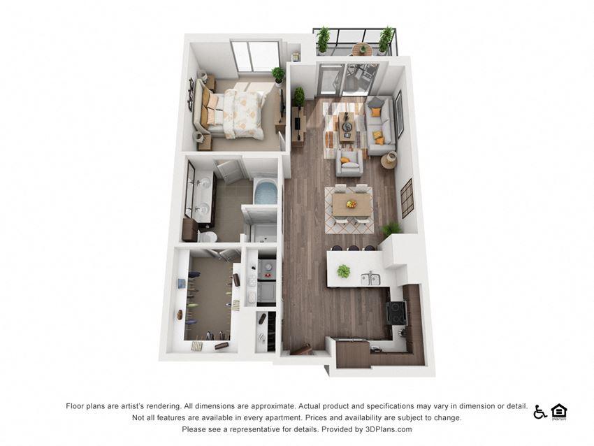 1 Bed 1 Bath 1O Floor Plan at Northshore Austin, Austin