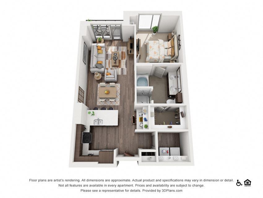 1 Bed 1 Bath 1P Floor Plan at Northshore Austin, Texas
