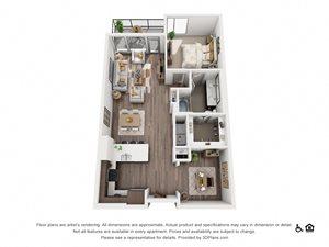 1 Bed 1 Bath 1S Floor Plan at Northshore Austin, Texas, 78701