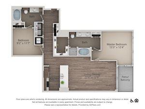 2Bed 2Bath 2D Floorplan at Northshore Austin, Austin, Texas