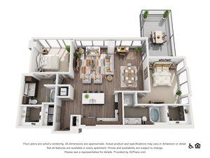2 Bed 2 Bath 2G Floor Plan at Nor2 Bed 2 Bath 2G Floor Plan at Northshore Austin, Austin, TXthshore Austin, Austin, 78701