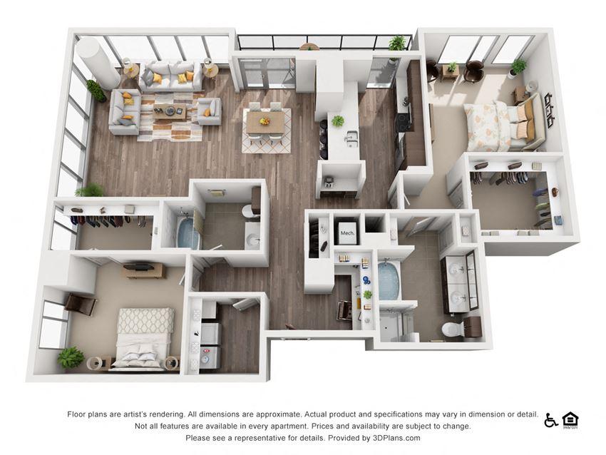 2 Bed 2 Bath 2K Floor Plan at Northshore Austin, Austin