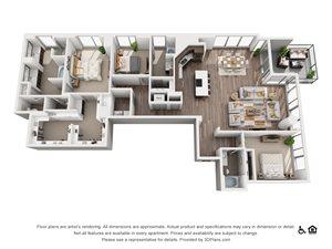 3 Bed 3 Bath 3C Floor Plan at Northshore Austin, Austin, TX
