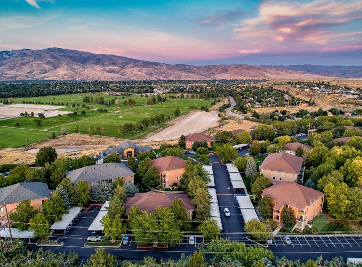 Aerial Property View at Columbia Village, Idaho