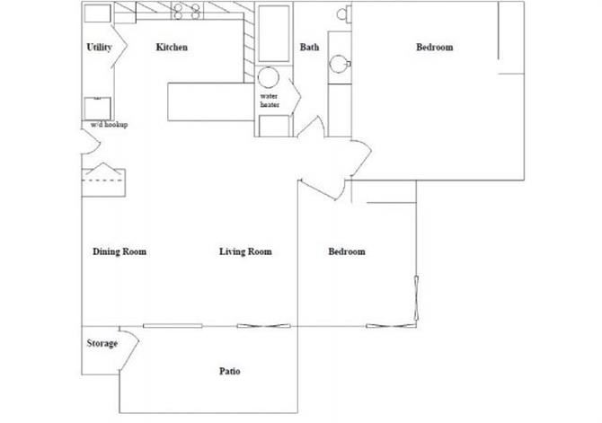 2 Bed 1 Bath Floor Plan at Columbia Village, Idaho