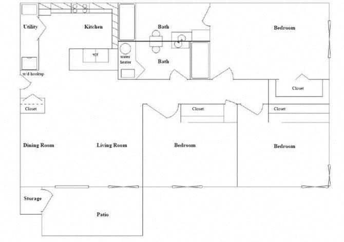 3 bedroom 2 bathroom Floor Plan at Columbia Village, Boise, ID, 83716