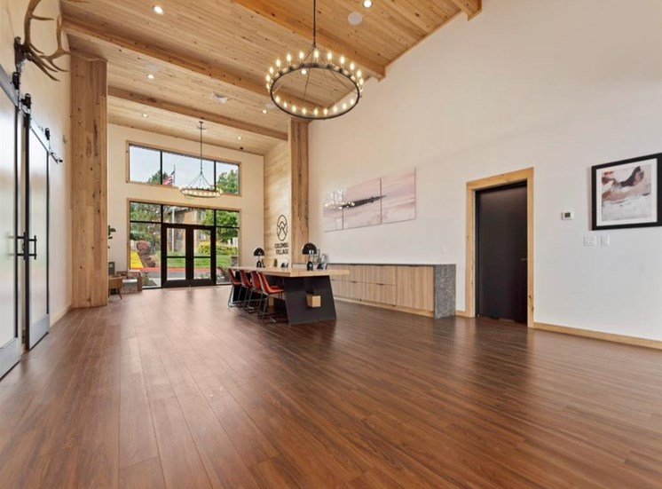 Clubhouse entrance and leasing at Columbia Village, Boise, ID