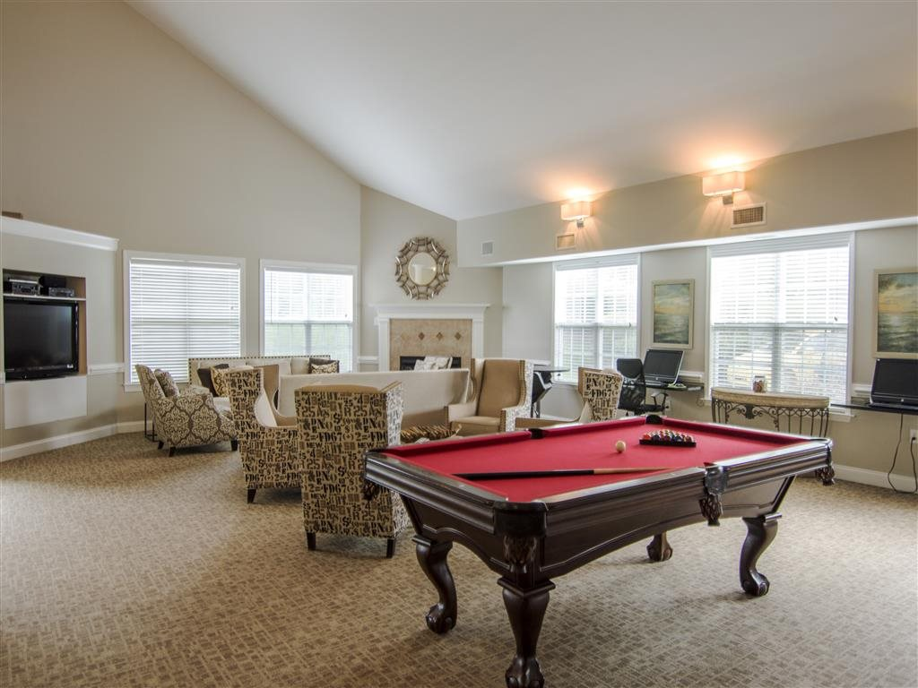 Enjoy a game of pool at the clubhouse at Haven at Research Triangle Park