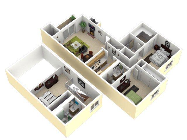 2 Bedroom, 2 Bathroom with Den Floor Plan 4