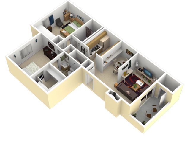 2 Bedroom, 2 Bathroom Floor Plan 4